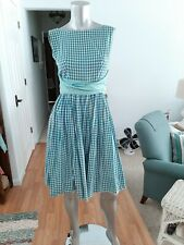 New listing Cute Vintage 50s Early 60s Cotton Turquoise Check Dress with Shorty Jacket