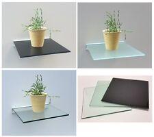 Glasregal Quadrat 30x30 cm klar satiniert schwarz mit Alu Profil Wandregal Board