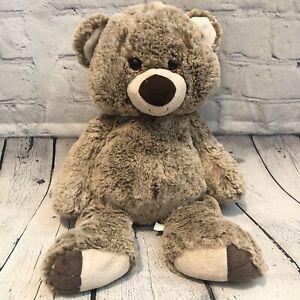 "First & Main 14"" Plush Teddy Bear Bumbley Brown Corduroy Nose Gold Sparkle Eyes"