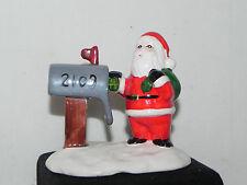 Estate=Christmas =Train village:Ceramic Hand Painted Ceramic Santa at Mail Box