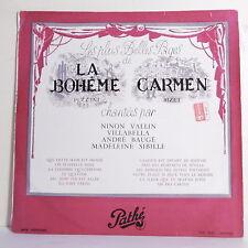 """33T LA BOHEME Puccini CARMEN Bizet Vinyl LP 12"""" VALLIN VILLABELLA - PATHE 5001"""