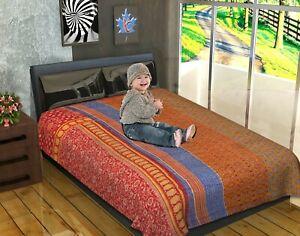 Indian Cotton Kantha Quilt Handmade Twin Size Bedding Bedspread Bohemian Throw