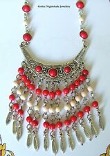 Gypsy Boho Necklace, Tassle Bib Necklace,Tribal Jewellery, OOAK Handmade