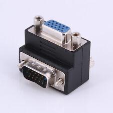 90°Degree Right Angle 15 Pin VGA SVGA Male to Female Converter LCD Video Adapter