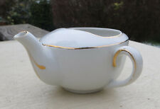 Vintage Small Gilded Invalid Feeding Cup / Infant Feeder / Pap Boat - White