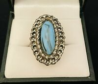 VTG Style Silver Tone/Turquoise Cabochon Oval Ring Costume Jewellery Adjustable