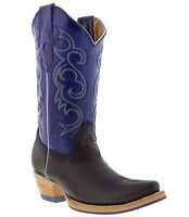 Women's New Leather Western Cowgirl Rodeo Biker Boots Snip Toe Black Blue