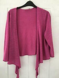 Per Una Ladies 3/4 Sleeved Pink Tie Front Shrug Size 18