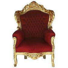 Poltrona In Stile Barocco In Foglia Oro Con Rivestimento Bourdeaux