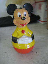 Vintage 1975 Walt Disney Mickey Mouse Roly Poly Stand-up Child's Rattle Toy