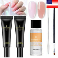 Quick Poly Extension Gel Slip Solution Nail Art Brush Tips Spatula Stick DIY Set