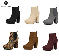 DREAM PAIRS Women's Chunky High Heel Ankle Boots Chelsea Booties Ladies  Zip Up
