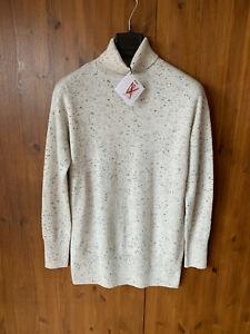 RRP £99 - JOHN LEWIS LONG JUMPER Light Grey Pure 100% Cashmere Wool UK 12 - BNWT