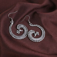 BOHO ETHNIC INDIAN GYPSY PHOENIX SPIRAL EARRING HOOPS