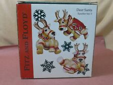 Fitz & Floyd Set of 3 Dear Santa Reindeer Tumblers Christmas Figurines Euc