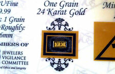 ACB PURE 24k Gold BULLION MINTED 1Grain BAR 99.99 FINE WITH CERTIFICATE <