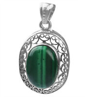 Malachite gemstone Pendant 4.26 gms fine jewelry 925 Sterling Silver