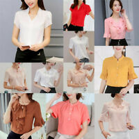 Shirt Top Loose Women Chiffon Short Sleeve Summer Ladies Fashion T-Shirt Blouse