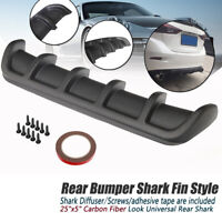 "25x5"" Matte Carbon Car ABS Rear Shark Fin Style Curved Bumper Lip Diffuser 6 Fin"