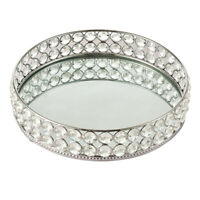 Mirrored Crystal Vanity Tray Ornate Decor Tray for Perfume Jewelry Makeup