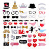 58pcs Party Props Photo Booth Moustache Birthday Engagement Wedding Selfie DIY