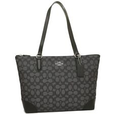 Coach F29958 Signature Jacquard Zip Tote Bag Purse Silver Black Smoke