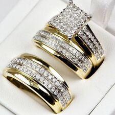 14K Solid Yellow Gold Finish D/VVS1 Diamond Trio Bridal Wedding Ring Band Set