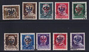 Yugoslavia (German Occupation of Ljubljana) Sc #N36-45 (1944) Italy Overprints