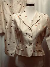 Talbots Skirt Suit Ivory Silk Polka Dot Button Front Jacket 8P Petite Fitted