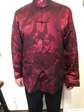 Men's Chinese Dragon Print Tunic Jacket Ethnic Size L