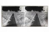 Il Giardino Foto Placca Stereo 6x13cm Vintage Negativo