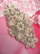 JB183 Crystal Rhinestone Pearl Applique Silver Beaded Patch DIY Bridal SASH
