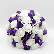 Artificial Wedding Flowers Brides Posy Bouquet in Purple White Roses Brooches