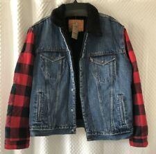 Mens Levis Large Flannel Trucker Jean jacket Hybrid Denim Sherpa Snap Front