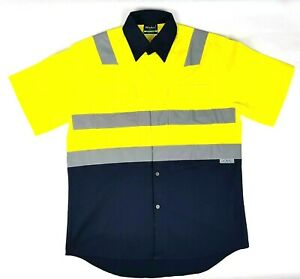 Hi Vis Short Sleeve Shirt Vents Size XS - 5XL Safety Reflective Yellow OR Orange