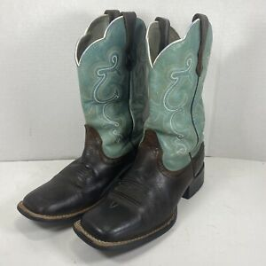 Ariat 10004720 Women's 7.5B Turquoise & Brown Leather Square Toe Western Boots
