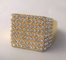 G-Filled Mens 18k yellow gold simulated diamond ring round sparkling Gents bling