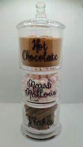 💖Hot chocolate station storage stacking jars glass 3 tier flake marsh mallows
