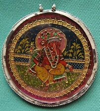 VINTAGE LORD GANESHA PAINTING WITH BEAUTIFUL PEARLS SILVER NECKLACE PENDANT RARE