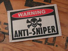 SNAKE PATCH ..:: WARNING ANTI-SNIPER ::.. AIRSOFT PAINTBALL US TAN