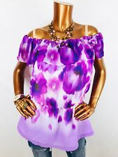 Jennifer Lopez L Top On Off Shoulders Dye Floral Blouse Lite Wt Shirt JLo Peplum