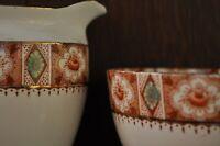 VINTAGE Royal Albion China Sugar Bowl and Creamer Milk Jug in Brown RICHMOND