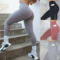 Women Sports Pants Yoga Fitness Leggings High Waist Running Gym Pockets Trousers