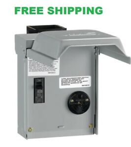 RV Hookup Power Outlet Circuit Breaker Receptacle Box Rainproof Enclosure 30 Amp
