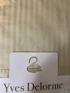 Yves Delorme Striped King Flat Sheet Taupe 100% Egyptian Cotton