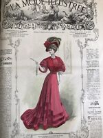 French MODE ILLUSTREE SEWING PATTERN Dec 16 & 23 1906 BALL GOWN, PURSE