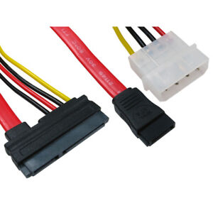 50cm SATA Combo 15 Pin Power and 7 pin Data Cable 4 pin Molex to Serial ATA Lead