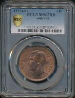 Australia, 1951(m) One Penny, 1d, George VI - PCGS MS63RB (Ch-Unc)