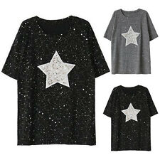 Cool Casual Women's Short Sleeve Sequins Star Print Loose Blouse Tops T-Shirt