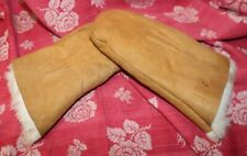 Vintage Suede Shearling Mittens